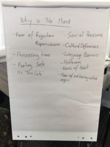 Saying No, Hearing No - BiCon2016 - flipchart 1